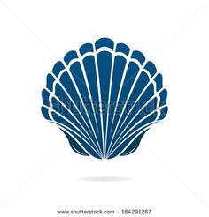 Scallop seashell of mollusks icon sign isolated illustration