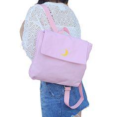 New Fresh Style Women Canvas Backpack Harajuku Heart/Moon Backpacks for Teenage Girls Black Pink Travel Bag Pack Rucksack JXY708