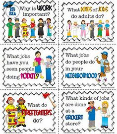 Could be used with teaching Community helpers cute flash cards.  Have what they do on the back.  Helps the kids review what has been learned.
