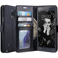 LK Note 4 Case, Galaxy Note 4 Wallet Case, Luxury PU Leather Case Flip Cover with Card Slots and Stand For Samsung Galaxy Note 4, Balck #carscampus
