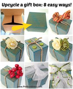 Decorate gift box ideas: use glitter paint, twine, ribbon, buttons, fabric flowers and more to dress up a plain gift box. Use what you have, and save what you receive!