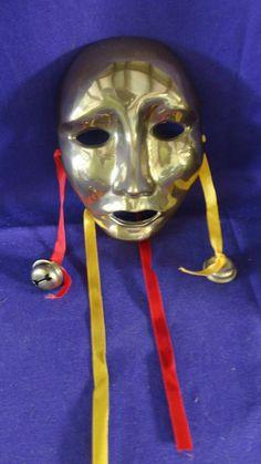 Vintage Solid Brass Mardi Gras Mask by tennesseehills on Etsy, $25.00