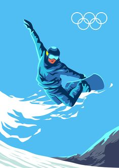 Snowboarder jumping through air with deep blue sky in background Wave Illustration, Graphic Design Illustration, Sports Graphic Design, Ski Posters, Outdoor Stickers, Sports Art, Winter Olympics, Cute Art, Vintage Posters