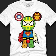 Men Marvel Super Hero Bearbrick Print Tee Avengers T-shirt Batman Superman White.