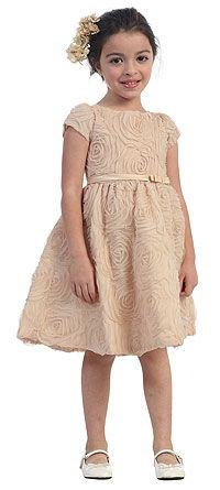 Flower Girl Dress Style 266 - Short Sleeved with Gorgeous Netted Floral Pattern