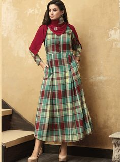 A Bunch Of Muslin Full Length Stylish Kurthi With Scarf Set. LKFABKART is a wholesale party wear kurti with scarf at bulk rates. Designer Kurtis Online, Check Fabric, Traditional Fashion, Online Shopping Stores, Daily Wear, Style Icons, Casual Wear, Fancy, Stylish
