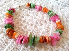 Colorful Mother of Pearl Shell Boho Anklet, Pink, Orange, Green, White