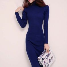 Winter Slim Turtleneck Long Knitted Sexy Sweater Dresses