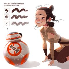 Rey and Bb8 - My brushes download on Behance