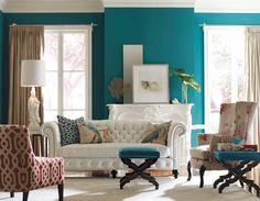 love the blue wall as a statement wall. --- belle maison: Eclectic Interiors :: Getting it Right