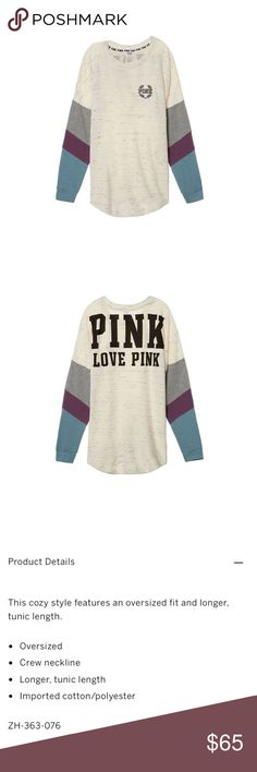 🆕[pink victoria's secret] varsity crew • style name: varsity crew • color: luna pearl • see above for details from company website • sold out online • condition: new in online packaging, never worn ____________________________________ ❌ price firm, no offers please!     ✅ i bundle!                      ⛔️ posh compliant closet & no trades PINK Victoria's Secret Tops Sweatshirts & Hoodies