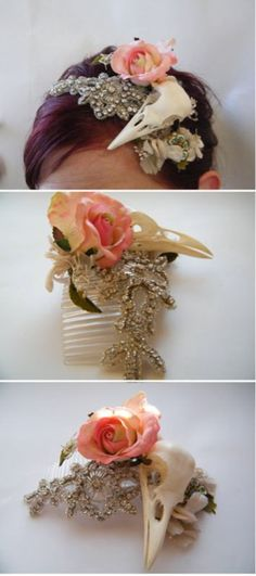 bird skull. This look is so unique since its done in a soft whimsical way.