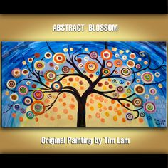 Impasto texture landscape painting Original acrylic colorful Blossom Tree Art, Abstract modern home decor gallery wrap canvas by Tim Lam.    ...BTW,Please Check this out:  http://artcaffeine.imobileappsys.com