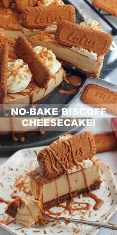 A delicious No-Bake Biscoff Cheesecake, with a Biscoff Biscuit Base, creamy Biscoff Cheesecake filling, sprinkled with more biscuits and more! Biscoff Cake, Biscoff Cheesecake, Chocolate Cheesecake Recipes, Baked Cheesecake Recipe, Raspberry Cheesecake, Lotus Cheesecake, No Bake Caramel Cheesecake, Healthy Cheesecake Recipes, Cheesecake Bites