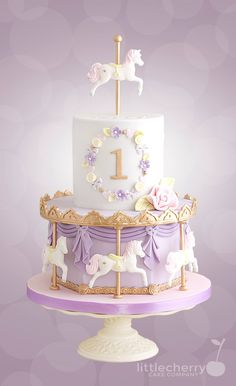 Pastel Carousel Cake - Cake by Little Cherry (Birthday Cake Recipes) Baby Cakes, Girl Cakes, Carousel Birthday Parties, 1st Birthday Cakes, 1st Birthday Cake For Girls, 1st Birthday Party Ideas For Girls, 1st Birthday Foods, Purple Birthday, Art Birthday