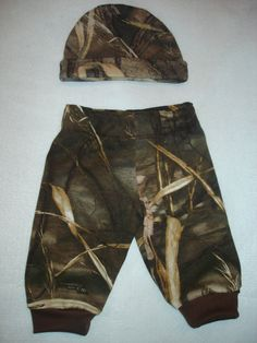 Baby Infant Boys Camo Max 4 Advantage HD or Real Tree AP Thermal Snow Camo Mossy Oak Hat Pants Set - Made to Order