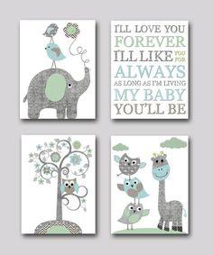 Gray and blue Elephant Nursery Giraffe Nursery Print Baby Room Decor Baby Nursery Decor Baby Boy Nursery Kids Wall Art Kid Art set of 4 8x10