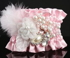 Wrist Corsage with Jewels, Rhinestones, Plumes, Organza Flower and Czech Pearls