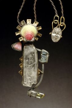 Revemer - necklace by Linda Kaye-Moses. Sterling and fine silver, quartz, 14k gold, shell, opal, aquamarine, apatite - metal clay techniques, roll-printing, patination.