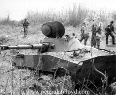 North Vietnamese PT-76 tank knocked out at Ben Het, 1969
