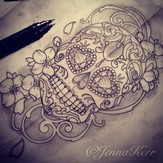 #drawing #sugarskull #filigree #jennakerr #dayofthedead