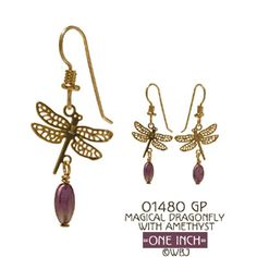 Wild Bryde Magical Dragonfly with Oval Am Earrings