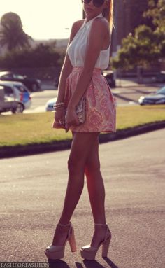 Great pink skirt and white sleeveless blouse