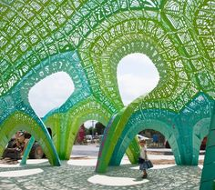 An amphitheater designed by Marc Fornes's firm THEVERYMANY for a school in Argeles, France.