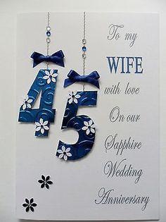 luxury sapphire 45th 65th wedding anniversary card handmade