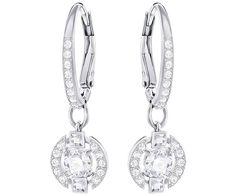 Sparkling Dance Round Pierced Earrings, White