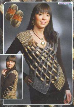 Knit Vest Pattern, Crochet Poncho Patterns, Crochet Blouse, Hand Crochet, Knit Crochet, Crochet Fashion, Knitting Stitches, Crochet Clothes, Collar Macrame