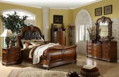 Exceptionnel Mollai Collection 7PC Bedroom Set With Padded Leather Headboard, Cherry  Veneers, Detailed Carvings,