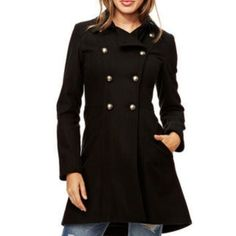 New! Black military style coat Brand new! Bought online for upcoming winter on sale and can't send it back... Fits true to size my arms are just too long for it! Beautiful coat! I love the fit and how it's longer in the back! Jackets & Coats