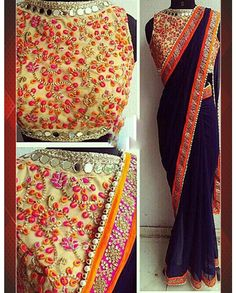 Blue Georgette Sari With Heavy Work on Border   1. Blue Georgette Sari With Heavy Work on Border2. Comes with unstitched Matching Blouse