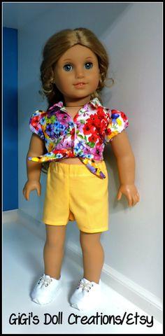 Summer doll short set fits American Girl by GiGisDollCreations