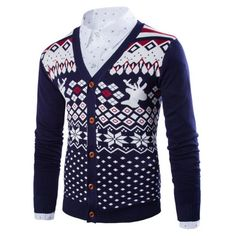 31.67$  Watch here - http://dizhd.justgood.pw/go.php?t=205094611 - Button Front Deer Snowflake Christmas Cardigan