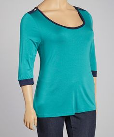 Take a look at this Teal & NavyColor Block Epaulette Top - Plus by Tua Plus on #zulily today!