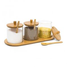 Relaxdays JIAO Bamboo Spice Preserving Glass Jar Set 12 x 31 x 12 cm Spice Holder of 3 Glass Containers with Spoons as Alternative to Spice Rack, Kitchen Storage, Natural Glass Containers, Glass Jars, Spice Holder, Kitchen Storage, Spices, Alternative, Current Events, Free Delivery, Oasis