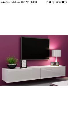 Tv stands and entertainment centers floating tv stand tv stand under wall mounted tv tv wall Living Room Tv, Living Room Modern, Living Room Furniture, Living Room Designs, Hanging Furniture, Tv Furniture, Furniture Storage, Furniture Outlet, White Furniture
