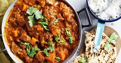 Serve this tender lamb and pumpkin curry with fresh coriander, thinly sliced green chili and naan bread.