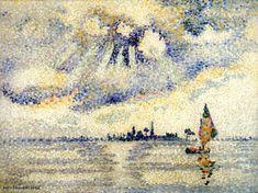 Coucher de soleil sur la lagune, Venise, huile sur toile de Henri Edmond Cross (1856-1910, France)