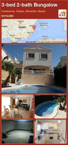 3-bed 2-bath Bungalow in Casanova, Calpe, Alicante, Spain ►€319,000 #PropertyForSaleInSpain