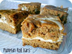 Cream Cheese and Pumpkin Roll Bars Recipe / Six Sisters' Stuff | Six Sisters' Stuff