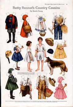 1917 Betty Bonnet's Paper Dolls---Country Cousins -11 x 16 --ob  in Dolls & Bears, Paper Dolls, Magazine | eBay