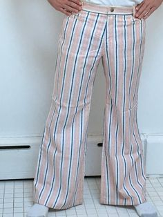7b17e46656e 1970 s pants striped Sailor beach bellbottoms by mightyMODERN Cruise Wear