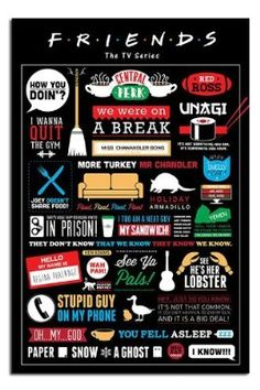 Friends TV Show Infographic Poster - 91.5 x 61cms (36 x 24 Inches)