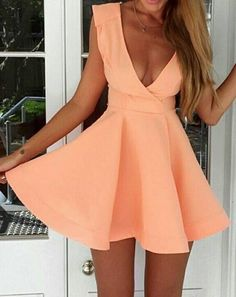 Super Cute! Love this Color! Sweet and Sexy Coral Pink Plain Pleated Plunging Neckline Backless Dress - #Sweet #Sexy #Coral #Pink #Peach #Mini_Dresses #Sun #Dresses #Spring #Break #Fashion