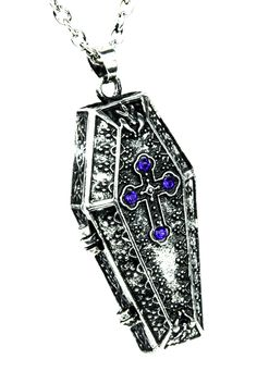 Victorian Coffin Chest Locket Pendant Necklace Gothic Jewelry
