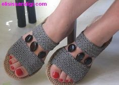 Update July Finally had them soled. Cobbler gave me compliments for the masterpiece and another customer offered to buy! Uppers are made of raffia, soles are out of jute, embellishments. Crochet Sandals, Crochet Shoes, Crochet Slippers, Knit Crochet, Knit Shoes, Sock Shoes, Crochet Flip Flops, Boot Cuffs, Spring Shoes