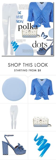 """Blue Polka Dots"" by selmasarlen ❤ liked on Polyvore featuring Deborah Lippmann, Topshop, Tabitha Simmons, L.A. Girl, Blue and PolkaDots"